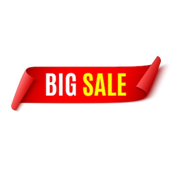 Sale banner. red ribbon.  illustration.