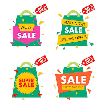 Sale banner set in material  style. .