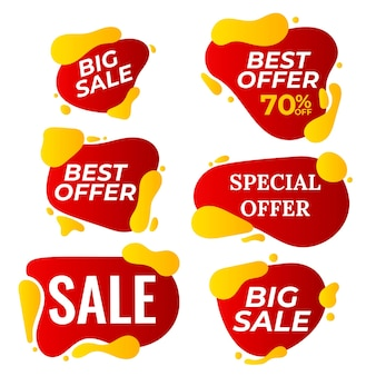 Продажа баннеров задать вектор. дисконтная бирка, баннер специального предложения. скидка и продвижение. половина цены красочные наклейки. изолированная иллюстрация