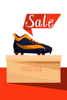 Sale banner. sneakers shoes on the box.