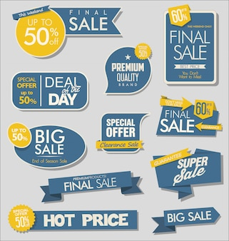 Sale banner and special offer tags collection