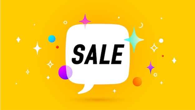Sale. banner, speech bubble, poster and sticker concept, geometric style with text sale.