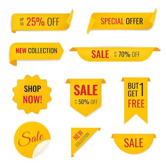 Продажа баннеров наклейка, пустой векторный торговый клипарт набор