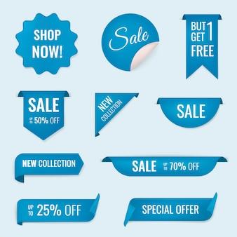 Adesivo per banner di vendita, set di clipart per lo shopping vettoriale vuoto