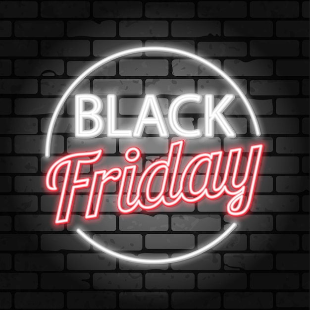 Sale banner  template black friday sale neon signboard