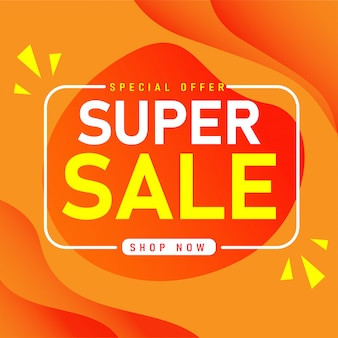 Sale banner template design, super sale special offer.
