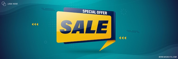 Sale banner template design for web.