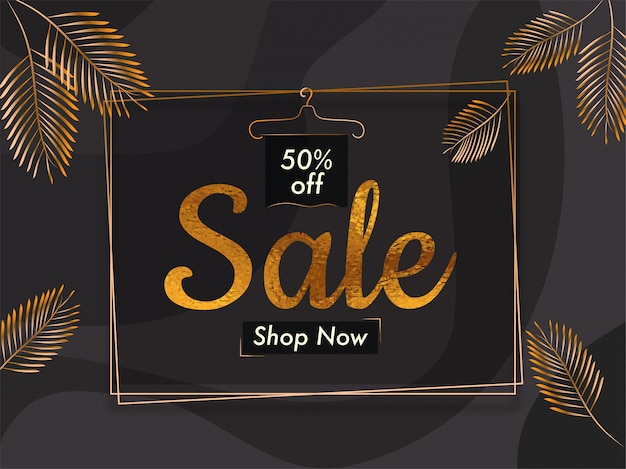 Sale banner template design with 50% discount offer with golden palm leaves.