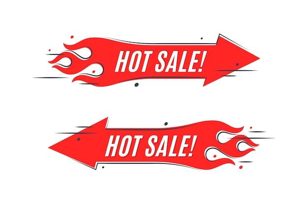 炎の販売バナーテンプレートデザイン。ホットセールサイン。