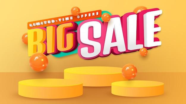 Sale banner template design with geometric forms. cylinder podium  geometric 3d element. big sale special offer. super sale. product presentation, mockup, podium, stage, pedestal or platform.