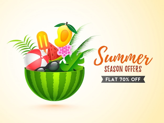 Sale banner template design with summer elements