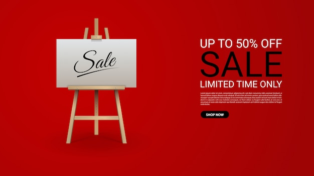 Sale banner template design with wooden brown easel