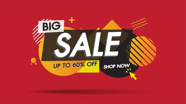 Sale banner template geometric abstract shape with 60% big sale special discount