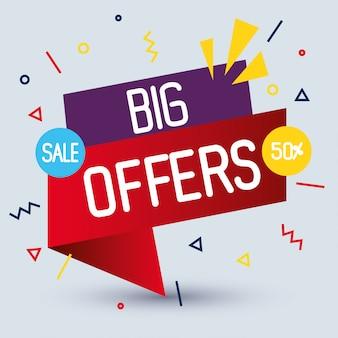 販売バナーテンプレート、大きなセール、50%割引プロモーション、販売バナーテンプレートコンセプト