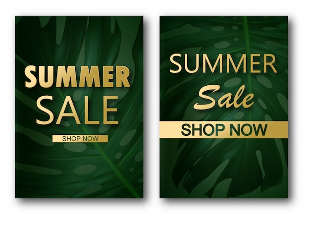 Sale banner template with leaves, jungle leaf and handwriting
