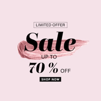 Sale banner template with rose gold brush painted and sale text on pink background