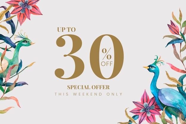 Modello di banner di vendita con pavoni e fiori dell'acquerello su fondo beige