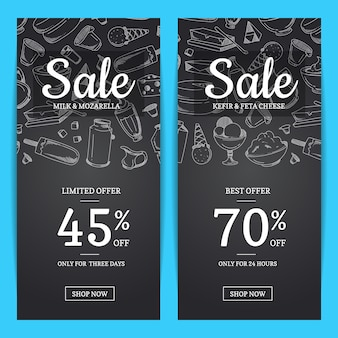 Sale banner templates with place for text and sketched milk products on chalkboard background illustration