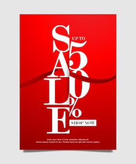 Sale banner up to 50% off red color