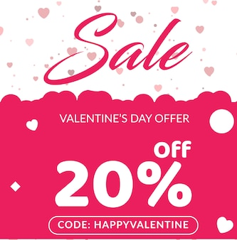 Sale banner for valentines day