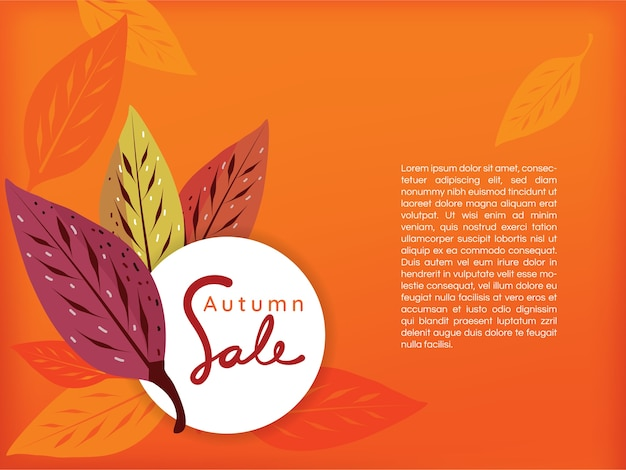 Sale banner with autumn leaves on orange background
