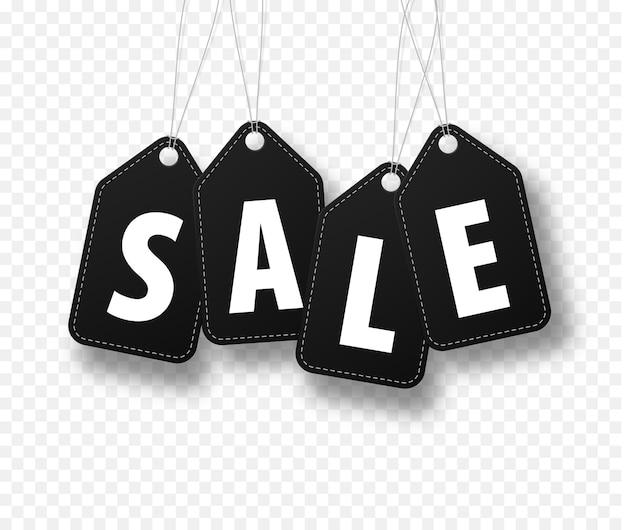 Продажа баннеров с черными этикетками на веревке, изолированные на белом клетчатом фоне.
