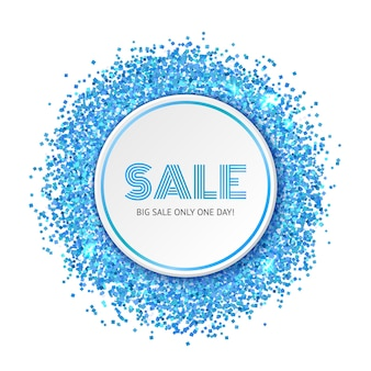 Sale banner with blue glitter particles and shine.