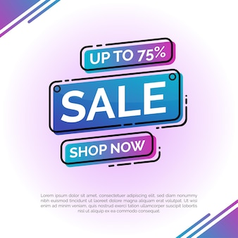Sale banner with blue gradient for special offers, sales and discounts illustration