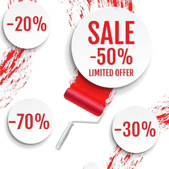 Sale banner with colorful stain
