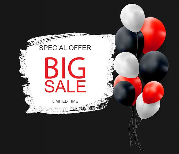 Sale banner with floating balloons.