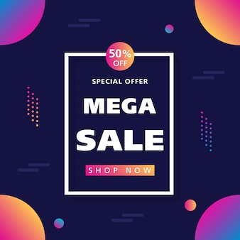 Sale banner with fluid elements