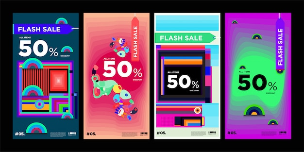 Sale banner with geometrics shapes