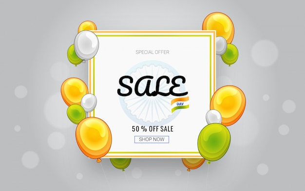 Sale banner with glossy balloons in saffron, white and green colors.