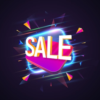 Sale banner with glow on dark background.