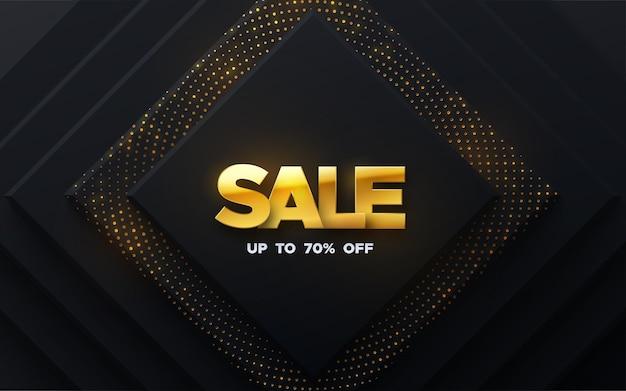 Распродажа баннер с золотыми буквами и блестящими черными квадратными формами