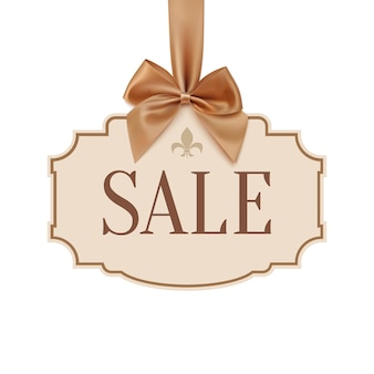 Sale banner with golden ribbon and a bow.