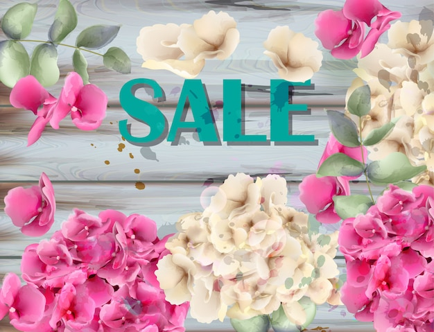 Sale banner with hydrangeas watercolor