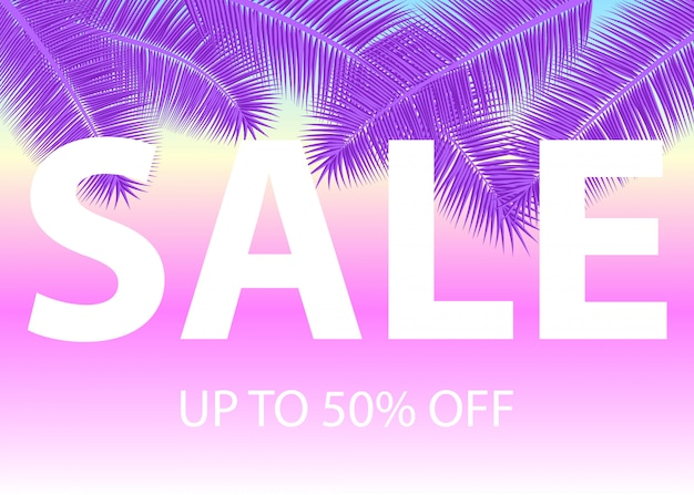 Sale banner with palm leaves. floral tropical ultra violet background.  illustration. hot summer sales . eps 10.