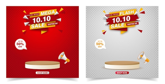 Sale banner with podium template design
