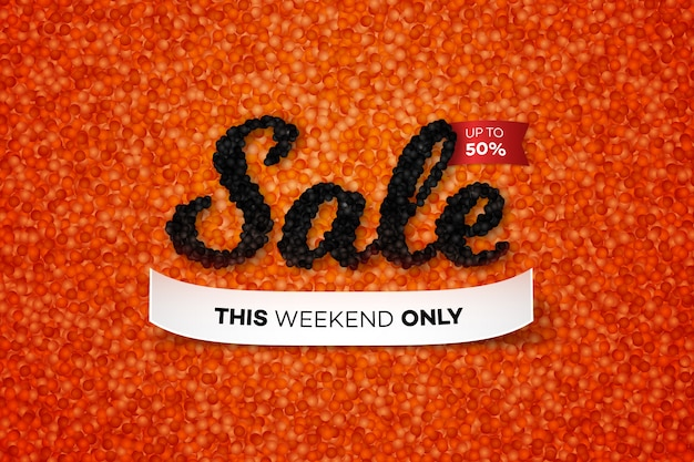 Sale banner with realistic caviar.