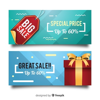 Sale banner with realistic objects