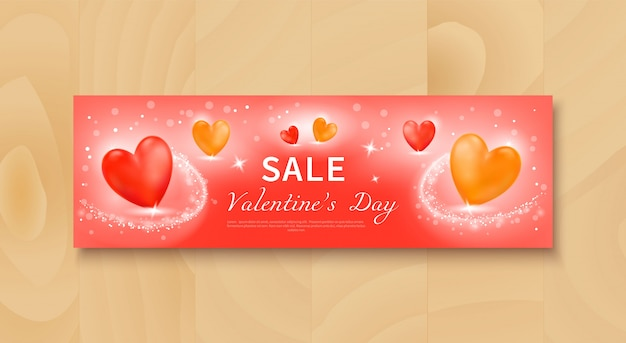 Sale banner with realistic red and yellow hearts