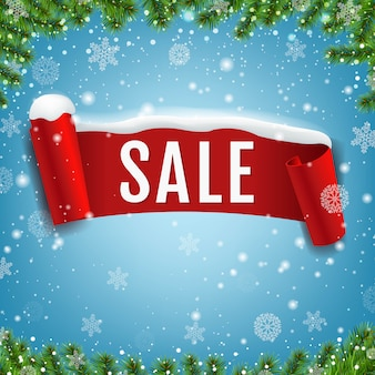 Sale banner with red ribbon and snow