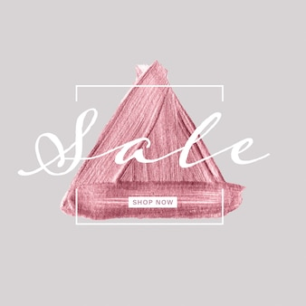 Sale banner with rose gold triangle painted brush on gray background