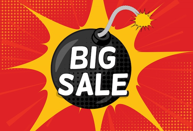 Sale banner with speech bubble and bomb in pop art style