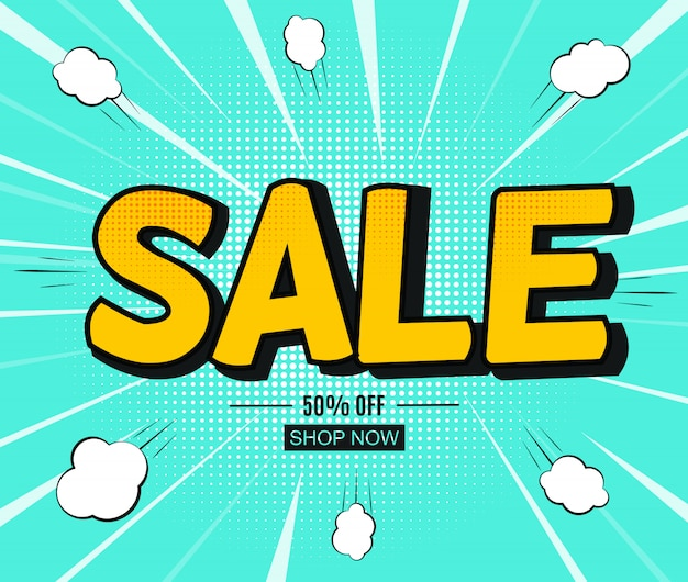 Sale banner with speech bubble in pop art style