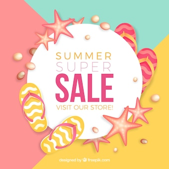 Sale banner with summer elements