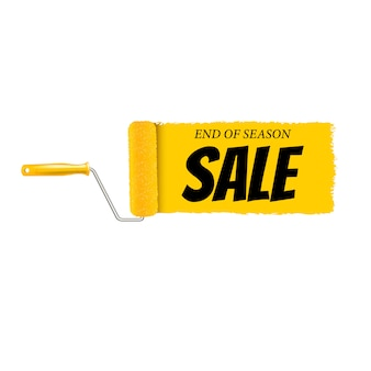 Sale banner yellow paint roller and paint stroke white background