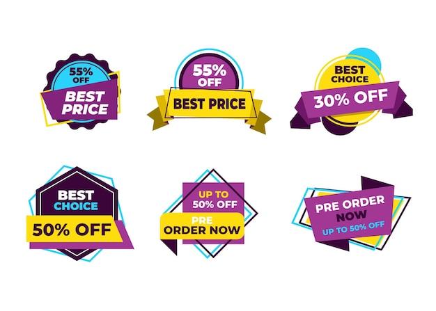 セールバナーと値札ラベル、セールカードと割引ステッカー。