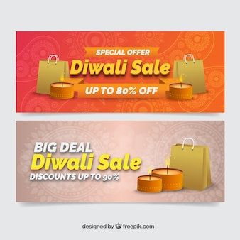 Sale banners of bags with diwali candles